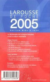 LAROUSSE DE POCHE (édition 2005) - 4ème de couverture - Format classique