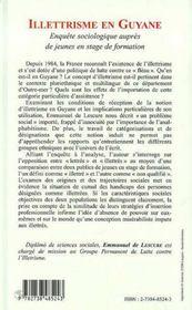 Illetrisme En Guyane ; Enquete Sociologique Aupres De Jeunes En Stage De Formation - 4ème de couverture - Format classique
