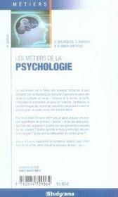 Les métiers de la psychologie (5e édition) - 4ème de couverture - Format classique