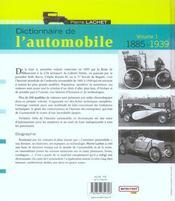 Dictionnaire De L'Automobile 1885-1939 (Volume 1) - 4ème de couverture - Format classique
