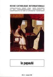 REVUE COMMUNIO N.95 ; la papauté - Couverture - Format classique