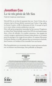 La vie très privée de Mr Sim - 4ème de couverture - Format classique