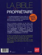La bible du propriétaire (édition 2013) - 4ème de couverture - Format classique