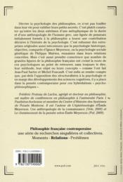 La psychologie des philosophes ; de Bergson à Vernant - 4ème de couverture - Format classique