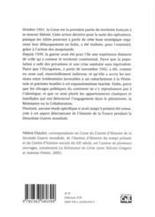 La Corse à l'épreuve de la guerre ; 1939-1943 - 4ème de couverture - Format classique