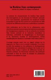 Le Burkina Faso contemporain ; racines du présent et enjeux nouveaux - 4ème de couverture - Format classique