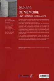 Papiers de memoire - 4ème de couverture - Format classique