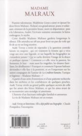 Madame Malraux - 4ème de couverture - Format classique