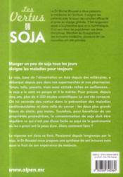 Les vertus du soja - 4ème de couverture - Format classique