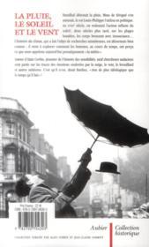 La pluie, le soleil et le vent ; une histoire de la sensibilité au temps qu'il fait - 4ème de couverture - Format classique