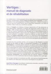 Vertiges : manuel de diagnostic et de réhabilitation (2e édition) - 4ème de couverture - Format classique