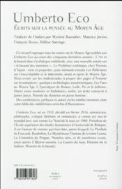 Écrits sur la pensée au Moyen Age - 4ème de couverture - Format classique