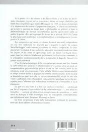 Sur la phenomenologie de la conscience intime du temps - 4ème de couverture - Format classique