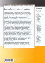 Les Maladies Mitochondriales N 9/10 - 4ème de couverture - Format classique