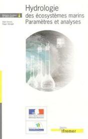 Hydrologie des écosystèmes marins ; paramètres et analyses - Couverture - Format classique