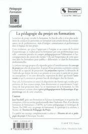 Pedagogie du projet en formation 5e ed - 4ème de couverture - Format classique