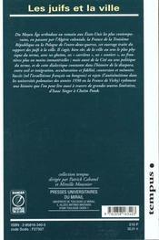 Les Juifs Et La Ville - 4ème de couverture - Format classique