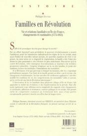 Familles en revolution ( 1775-1825) - 4ème de couverture - Format classique