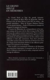 Le grand siècle en mémoires - 4ème de couverture - Format classique