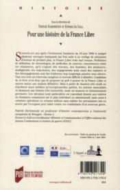 Pour une histoire de la France libre - 4ème de couverture - Format classique