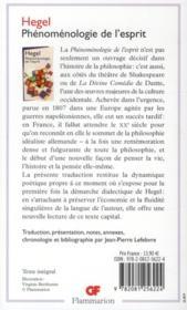 Phénoménologie de l'esprit - 4ème de couverture - Format classique