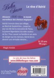 Bella Sara t.4 ; le rêve d'Astrid - 4ème de couverture - Format classique
