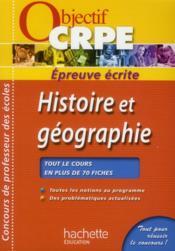 Le CRPE en fiches ; histoire/géographie - Couverture - Format classique