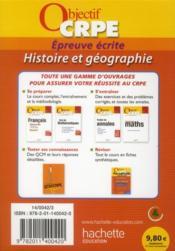 Le CRPE en fiches ; histoire/géographie - 4ème de couverture - Format classique