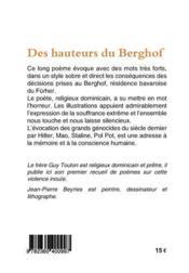 Des hauteurs du Berghof - 4ème de couverture - Format classique