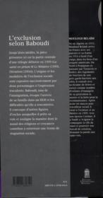 L'Exclusion Selon Baboudi - 4ème de couverture - Format classique