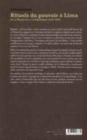 Rituels du pouvoir à Lima ; de la monarchie à la république (1735-1828) - 4ème de couverture - Format classique