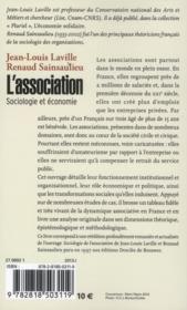 L'association ; sociologie et économie - 4ème de couverture - Format classique