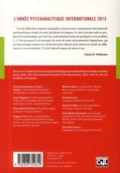 L'année psychanalytique internationale (édition 2013) - 4ème de couverture - Format classique