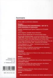 CAHIERS D'HISTOIRE N.119 ; homosexualitées européennes XIX-XXe siècles ; cahiers d'histoire n 119 - 4ème de couverture - Format classique