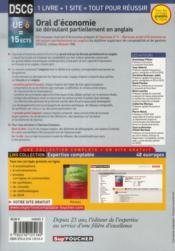 DSCG 6 ; oral d'économie se déroulant partiellement en anglais ; manuel et applications (6e édition) - 4ème de couverture - Format classique