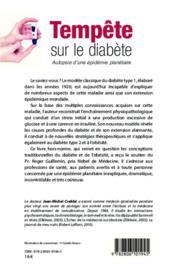 Tempete sur le diabete - autopsie d'une epidemie planetaire - 4ème de couverture - Format classique