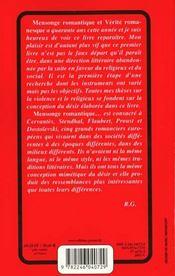 Mensonge romantique et verite romanesque - 4ème de couverture - Format classique