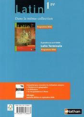 Latin ; 1ère (édition 2008) - 4ème de couverture - Format classique