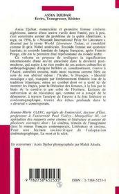 Assia Djebar ; Ecrire, Transgresser, Resister - 4ème de couverture - Format classique