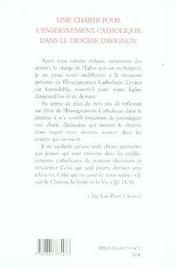 Une charte pour l'enseignement catholique dans le diocèse d'avignon - 4ème de couverture - Format classique