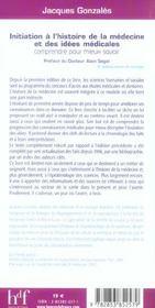 Initiation A L'Histoire De La Medecine Et Des Idees Medicales - 4ème de couverture - Format classique