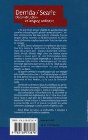 Derrida, Searle ; déconstruction et langage ordinaire - 4ème de couverture - Format classique