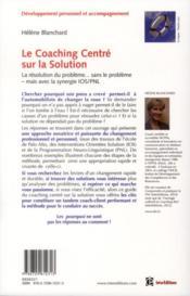 Coaching centré solution ; en synergie avec la PNL - 4ème de couverture - Format classique