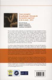 Cours européen de pathologie chirurgicale du membre supérieur et de la main, 2012 - 4ème de couverture - Format classique