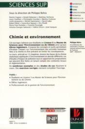 Chimie et environnement ; cours, études de cas et exercices corrigés - 4ème de couverture - Format classique