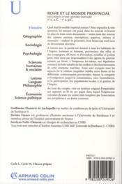 Rome et le monde provincial ; documents d'une histoire partagée - 4ème de couverture - Format classique