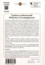 Guidance professionnelle ; médiation et accompagnement - 4ème de couverture - Format classique
