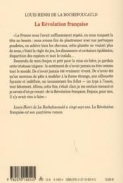 La Révolution francaise - 4ème de couverture - Format classique