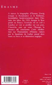 Erasme - 4ème de couverture - Format classique