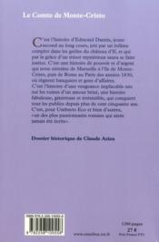 Le comte de Monte-Cristo - 4ème de couverture - Format classique